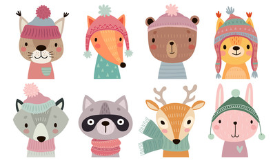 Fototapete - Christmas set with Cute forest animals. Hand drawn woodland characters. Greeting flyers.