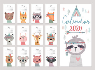 Fototapete - Calendar 2020. Cute monthly calendar with woodland boho animals.