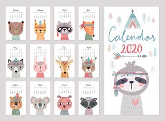 Wall Mural - Calendar 2020. Cute monthly calendar with woodland boho animals.