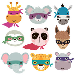 Fototapete - Superhero animal faces. Cute Hand drawn characters.