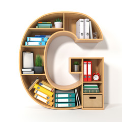 Letter G. Alphabet in the form of shelves with file folder, binders and books isolated on white. Archival, stacks of documents at the office or library.