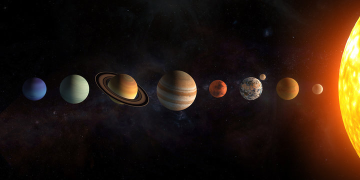 Solar system planets set. The Sun and planets in a row on universe stars background.Elements of this image furnished by NASA.