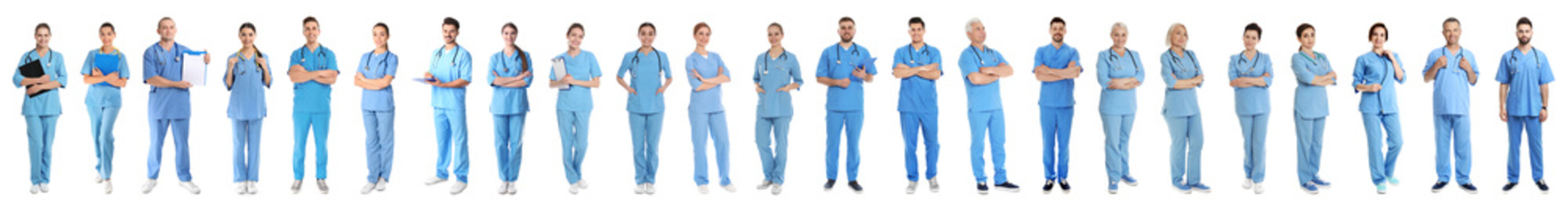 Collage of people in uniforms on white background. Medical staff