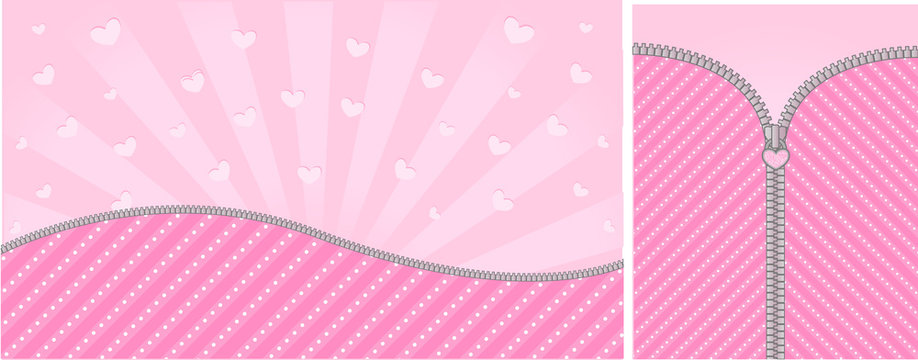 Bright pink striped on pale background for a themed party in style  doll surprised. Open vector zipper and cute lock. Rose birth backdrop template with hearts. Blank banner space for LOL text invite