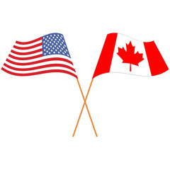 United States of America, Canada. National flags, icon set. Vector illustration on white background.