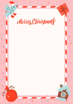 Merry Christmas frame with gingerbread house and xmas gifts on pink background with free space for text. Christmas letter to Santa Claus template. Layout in A4 size.