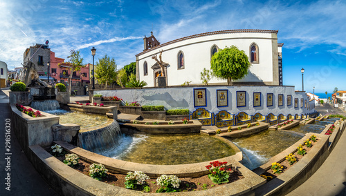 Wall mural Landscape with famous Paseo de Canarias street on Firgas, Gran Canaria, Canary Islands, Spain