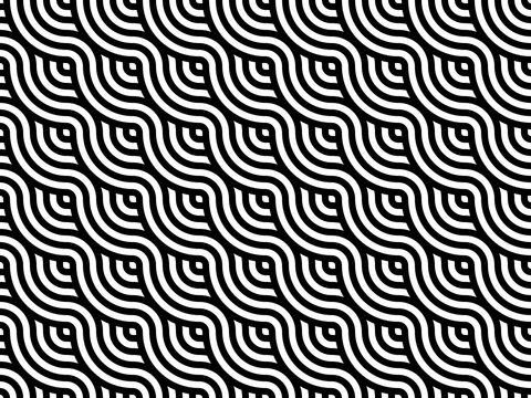 Japanese style wavy lines seamless pattern. Black and white stripes weaving background. Modern abstract geometric pattern tiles. Overlapping repeating circles make waves texture .Vector illustration.
