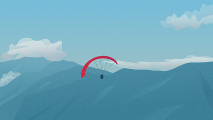 Paragliders flying over the mountains. Paragliding in sky. Vector background with mountains landscape and red parachute