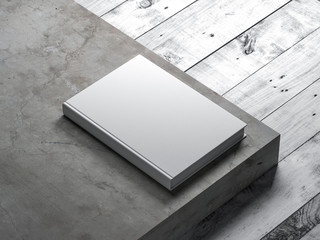 White Book Mockup with textured hardcover on concrete stair