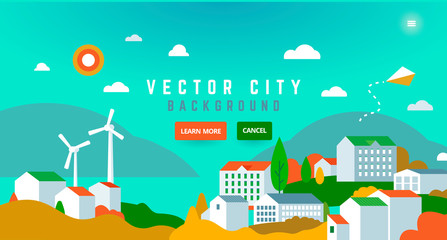 Wall Murals Green coral City landscape with buildings, hills, trees - abstract horizontal banner.