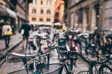 Tuinposter Fiets Many bicycles on the street in vintage style