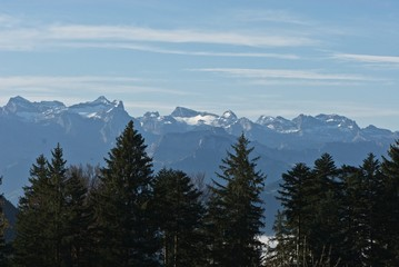 Aluminium Prints Blue sky Mountains covered with snow in Swiss Alps
