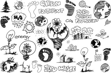 many hand drawn sketches of topics regarding nature and environment and ecology and carbon footprint