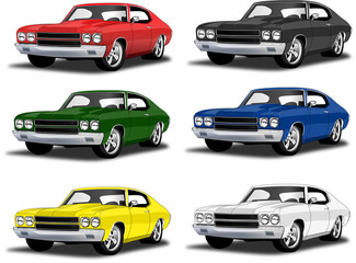 Classic muscle car in multiple colors