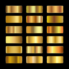 Ingots of gold, set of gold gradients, golden squares collection, textures group, gold background set – vector