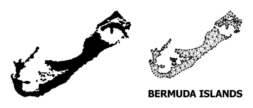 Solid and Wire Frame Map of Bermuda Islands