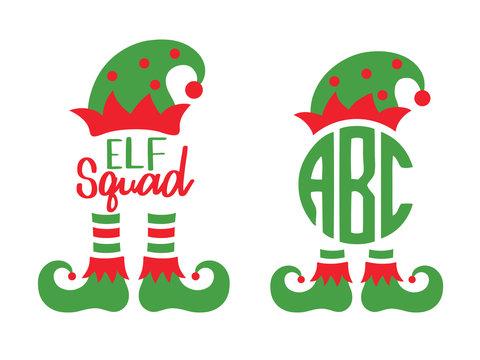 Cute elf squad monogram frame vector illustration. Christmas elf hat and boots.