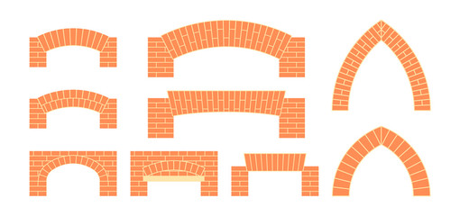 Vector brick icons in simple flat style