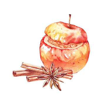 Baked apples with cinnamon, anise star and cinnamon. Watercolor illustration. Christmas desserts isolated on white. Hand drawn sketch of baked apple for festive design, holiday decoration, menu,banner