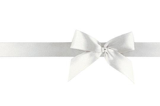 White ribbon bow isolated on white background