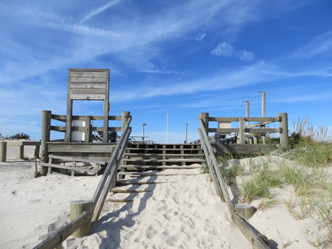 Stairs From the Beach at Cupsogue Beach on Dune Road in Westhampton Beach, Long Island, New York