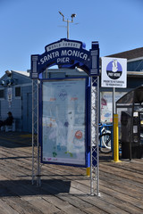 Information sign on the Santa Monica Pier April 20, 2019
