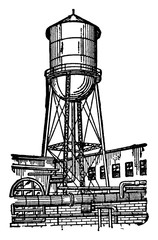 Water Tower vintage illustration.