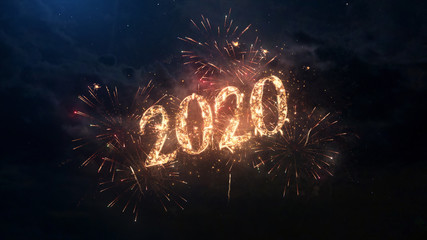2020 Happy New Year greeting text with particles and sparks on black night sky with colored fireworks on background, beautiful typography magic design. Fotomurales