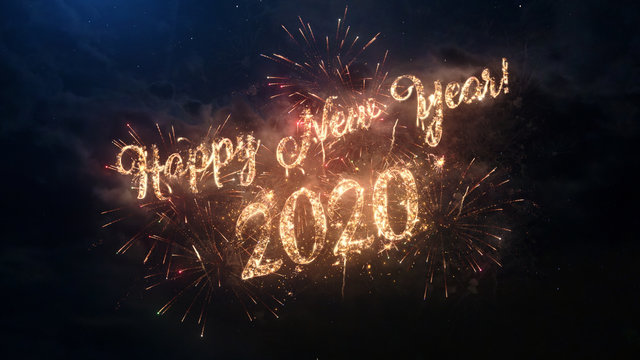2020 Happy New Year greeting text with particles and sparks on black night sky with colored fireworks on background, beautiful typography magic design.
