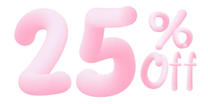 25% off Numbers made of chewing gum for design selling poster / banner promotion . Bubble Gum text. Isolated on white background. Vector 3d font . Discount tag , advertising , special offer