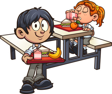 School boy and girl in uniform having lunch clip art. Vector illustration with simple gradients. Some elements on separate layers.