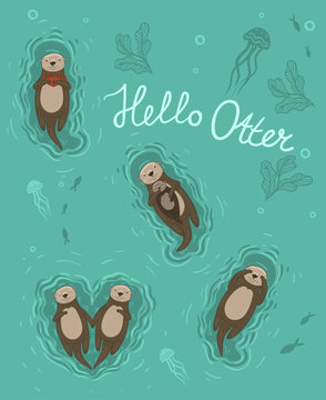Set of 5 sea otters. Vector graphics. Greeting card with the words Hello Otter
