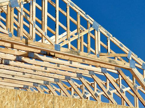 Construction carpentry roof truss raised center 3