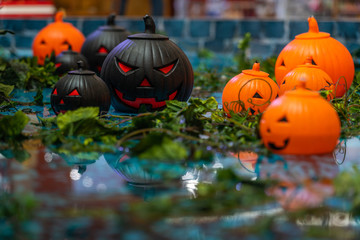 Group of Halloween ornament jack o lantern pumpkin head