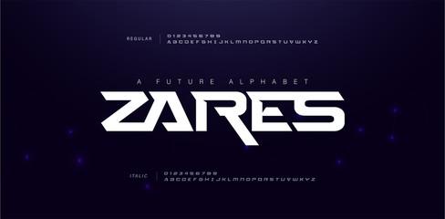 Sport Modern Future Alphabet Font. Typography urban style fonts for technology, digital, movie logo design regular, italic and number. vector illustration