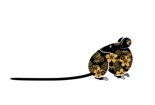 ねずみ 金色の和柄装飾