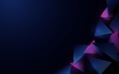 Abstract 3d polygonal pattern luxury dark blue with purple background