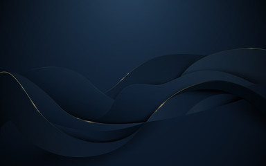 Abstract 3d wavy pattern luxury dark blue with gold background
