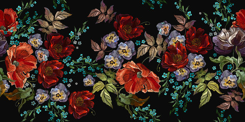 Embroidery red roses, violet flowers, beautiful and meadow herbs, horizontal seamless pattern. Floral coloful fashion template for clothes, textiles, t-shirt design