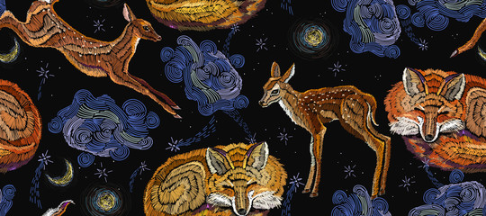 Wall Murals Boho Style Embroidery sleeping fox, deer and night sky, horizontal seamless pattern. Good night art. Fashionable template for design of clothes
