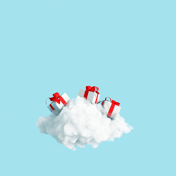 Gift box on the cloud on blue background. 3d rendering