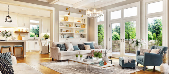 Fototapeta Luxury living room interior design with large window and kitchen with island obraz