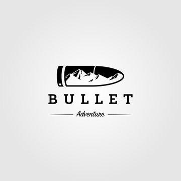 hunt logo mountain adventure in bullet symbol vector illustration