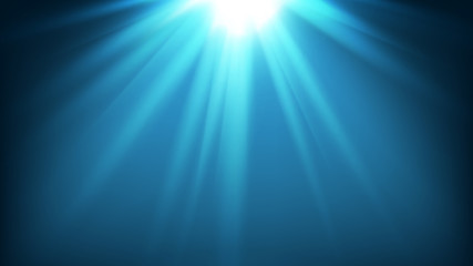 illustration of mystery underwater of sea or ocean with sunlight rays for background with copyspace