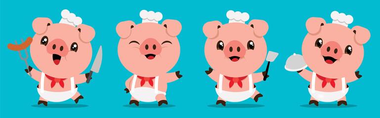 Cartoon cute pig chef mascot series. Cartoon cute pig holding kitchen tools. Flat art vector illustration - vector