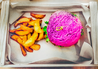 pink burger vegan fast food meal box high angle view of vegetarian with fries from above