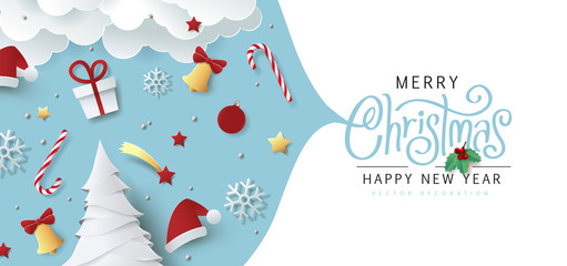 Fototapete - Winter christmas composition in paper cut style.Merry Christmas text Calligraphic Lettering Vector illustration.