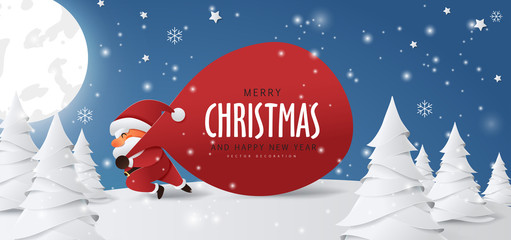 Fototapete - Santa Claus with a huge bag on the run to delivery christmas gifts at snow fall.Merry Christmas text Calligraphic Lettering Vector illustration.