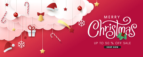 Fototapete - Christmas composition in paper cut style sale banner background.Merry Christmas text Calligraphic Lettering Vector illustration.
